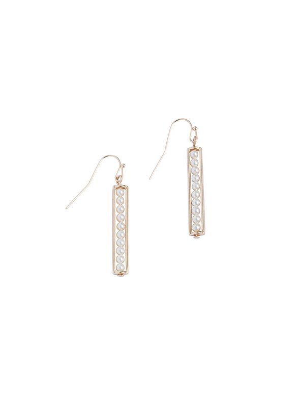 Pearl Ladder Gold Earrings