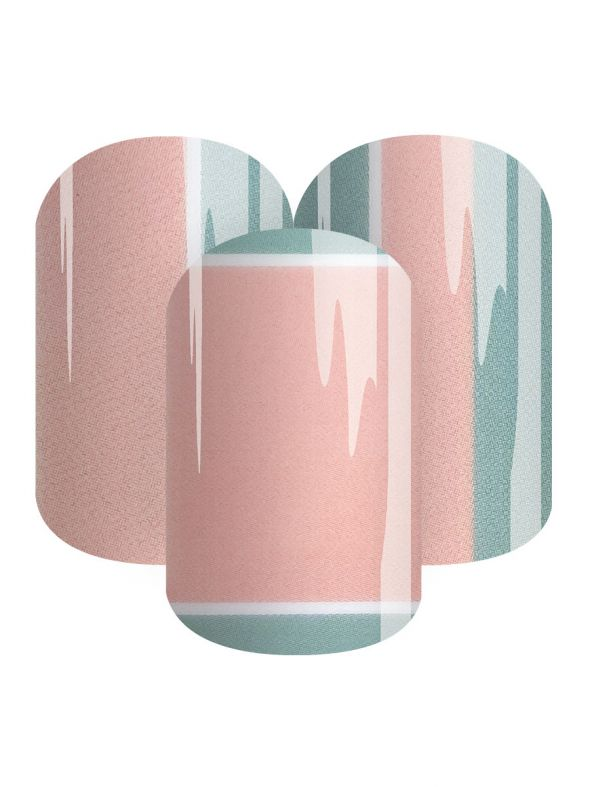 Peachy Green Stripes - Nail Wrap