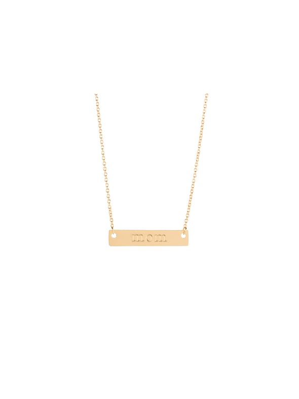 """Gold 'Mom' Bar Necklace - 16"""""""