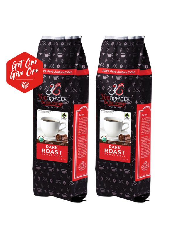 Be The Change Coffee - Fair Trade Organic Dark Roast - Whole Bean (12oz) [QTY: 2; Give One Get One FREE]